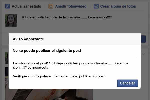 Indignación por nueva función de Facebook que no te deja postear si tienes mala ortografía